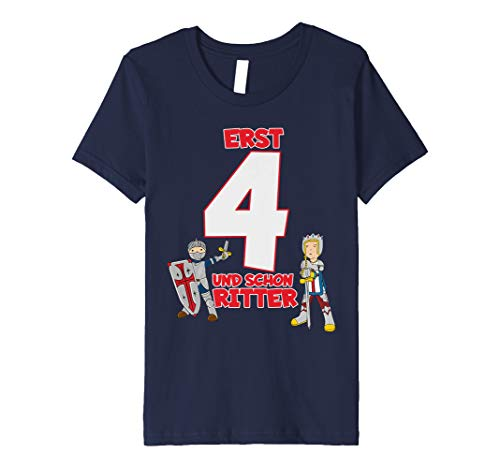 Kinder T-Shirt Geburtstag 4 Jahre Junge Ritter Motiv Kostüm