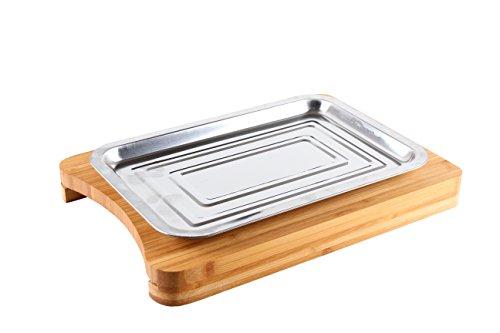 Schneidebrett aus Bambus mit Servierplatte Küchenbretter Schneidebretter aus Bambus mit Metalltablett - 2