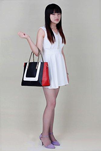 LeahWard® Große Größe Damen Kunstleder Qualität Handtasche Damen Mode Essener Tragetasche Berühmtheit Stil Qualität Taschen CWS00318 CWS00149 Schwarz/ Weiß/Red