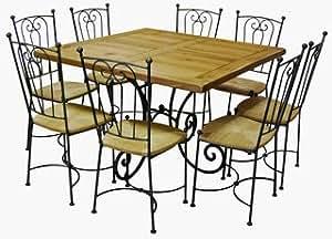 Table carrée chêne et fer forgé + 6 chaises Marie