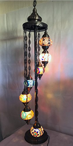 Multicolor Handmade Moroccan Turkish Ottoman Tiffany Style Mosaic Floor Lamp Light with 7 Globe UK