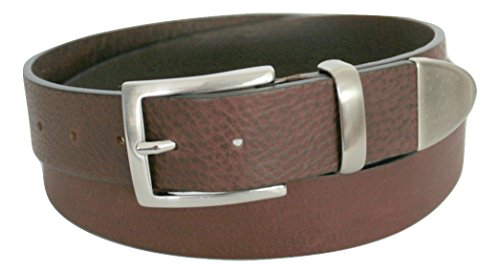 ITALOITALY - Italian leather belt with metal tip, metal loop, 4 cm wide, dark brown, 100% real leather, unisex, Made in Italy, can be shortened