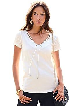 VENCA Camiseta Escote v con Ojales metálicos y Cinta con tapanudos metálicos by Vencastyle