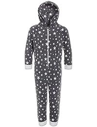 Camille Childrens Nightwear Supersoft White Star Print Grey Onesie