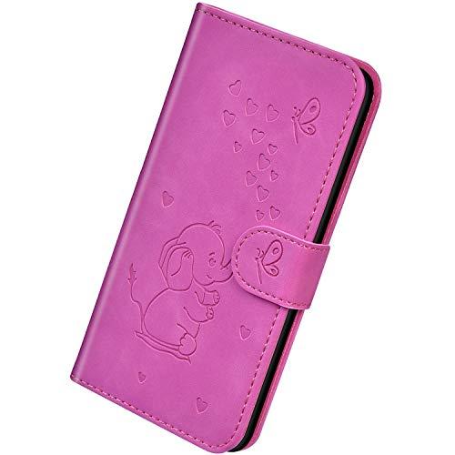 Herbests Kompatibel mit Samsung Galaxy J4 Plus 2018 Hülle Leder Schutzhülle Handyhülle Flip Wallet Case Cover Liebe Schmetterling Elefant Leder Tasche Klapphülle Kartenfach Magnetisch,Lila Rose