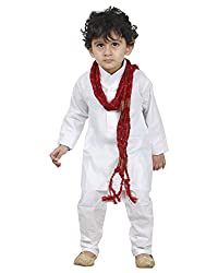 JBN Creation White Cotton Kurta Pyjama with Maroon and Gold Dupatta