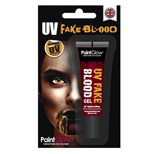 Smiffy's - Paint Glow UV Fake Blood gel 10 ml blíster, color naranja (46126)