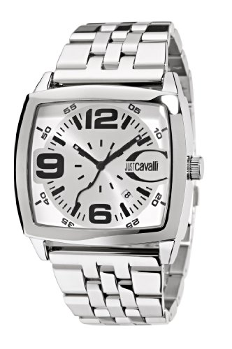 Just Cavalli Screen Men's Quartz Watch with White Dial Analogue Display and Orange Stainless Steel Strap R7253325045