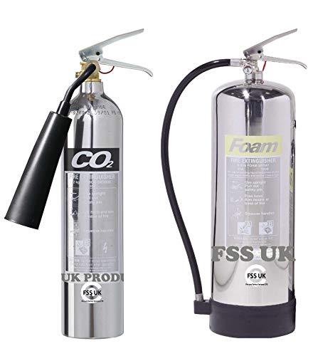 Designer Chrom-Feuerlöscher, Set, 6l Schaum + 2kg CO2-Feuerlöscher, CE-zertifiziert, ideal für Küche, Arbeitsplatz, Werkstatt, Lager, Garage, Hotels, Restaurants -