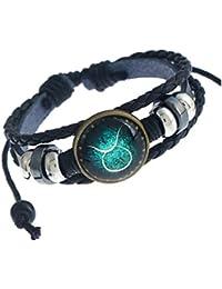 MeiPing Astrological Design 12 Constellation Leather Unisex Bracelet