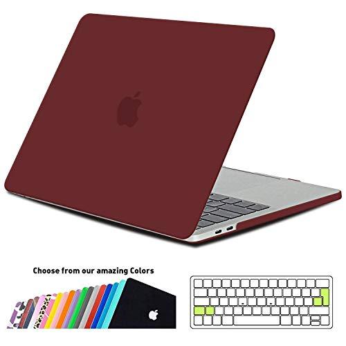 iNeseon MacBook Pro 13 Zoll Hülle 2018/2017/2016, Slim Schale Cover Case mit EU Transparent Tastaturschutz Schutzhülle für MacBook Pro 13 mit/ohne Touch Bar, Modell A1706/A1708/A1989, Weinrot