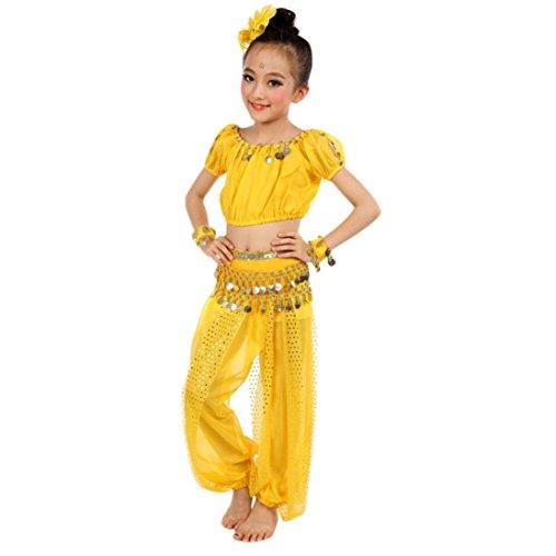 Bekleidung Longra Kinder Mädchen Tanzkostüme Bauchtanz Karneval Kostüm Set Kinder Bauchtanz Ägypten Tanz Tuch Chiffon Tops +Hosen Tanzkleidung für Kinder Mädchen (140CM, Yellow) (Schnee Tanz Kostüm)