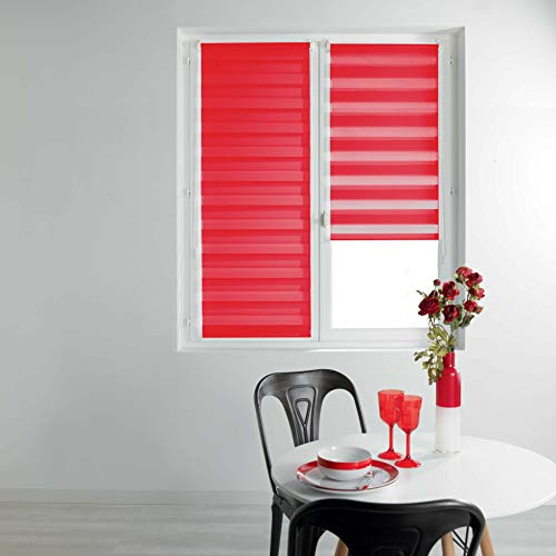 Estor d\'intérieur 1950033 - Estor Enrollable de día y Noche, poliéster, Rojo, 60 x 90 cm