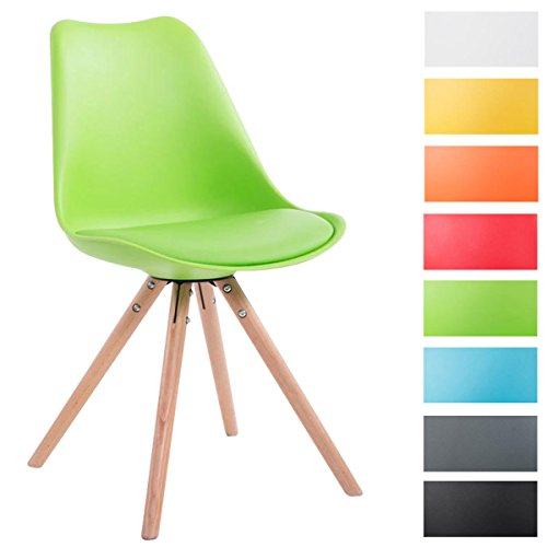 CLP Sedia dal design vintage TOULOUSE con gambe rotonde in legno color naturale, schienale in plastica, seduta in similpelle e imbottita. verde