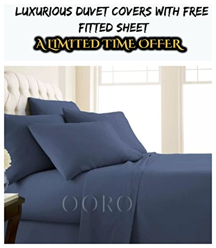 ooro Duvet Cover Set With FREE Fitted Sheet- Good Quality Duvet Set With FREE Fitted Sheet- Available In Different Sizes & Beautiful Colors- OFFER WILL END SOON (Double, Navy Blue)