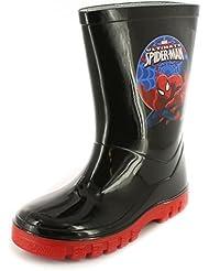 Neuf Pour Garçons/Enfants Noir Spiderman Bottes En Caoutchouc - noir/Rouge - TAILLES UK 7-1