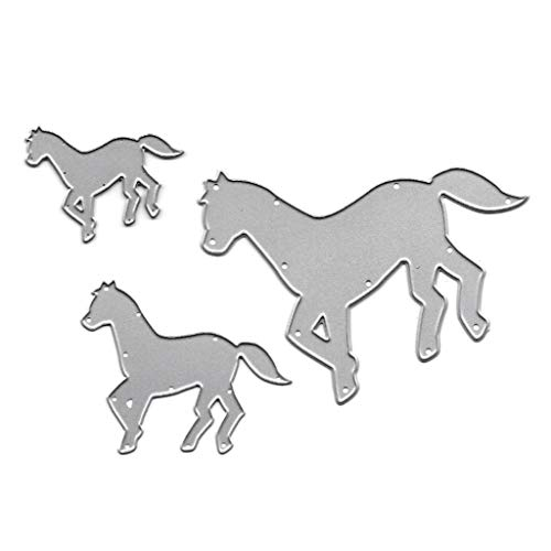 ECMQS 3 Stück Laufendes Pferd Stanzmaschine Stanzschablone Prägeschablonen Stanzformen Schablonen Für Scrapbooking, Herstellung Von Karten, Albumdekoration, Bilderrahmen