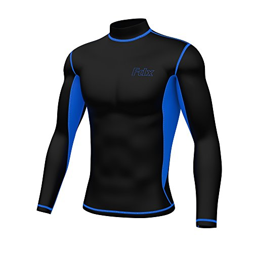 Blau Thermal Long Sleeve Top (FDX Herren Super Thermal Kompression Armour Base Layer Long Sleeve Cold Wear Top, schwarz / blau)