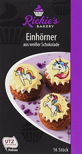 Richie's Bakery Dekor Aufleger Einhörner aus weißer Schokolade, 3-fach sortiert, 6er Pack (6 x 24 g)