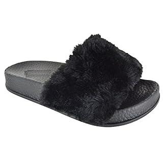 EYESONTOES Kids Girls Flat Slip ON Open Toe Rubber Slider Fur Comfy Slippers Sandals Shoes