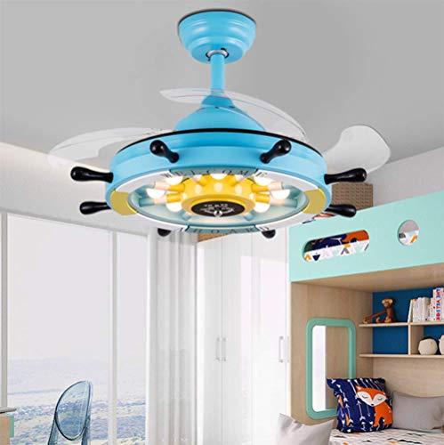 YAMEIJIA Mediterrane Fan Light Cartoon Kinderzimmer Junge Schlafzimmer Lampe Mädchen Prinzessin Zimmer Creative Ruder Decke Fan Light,A