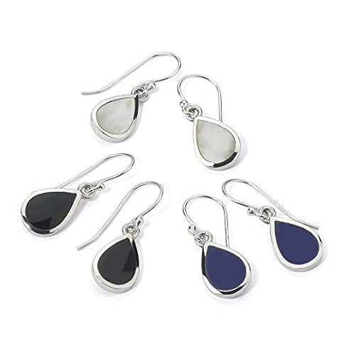 Sterling Silver Dangle Drop Earrings Teardrop shape with Simulated Onyx