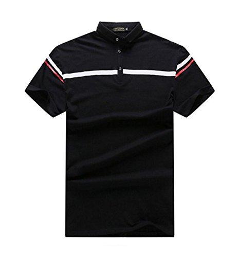 Sommer Mann Große Yards Kurze Hülse Art Und Weise Einfach Revers T-Shirts Black
