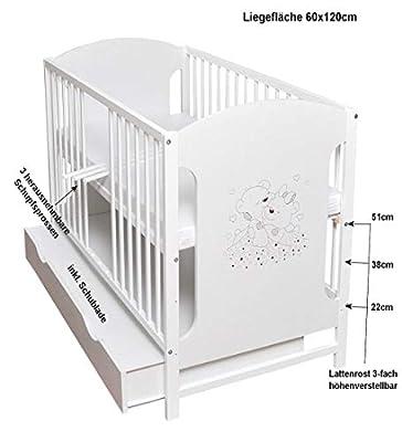 Cuna de bebé con rejilla, 120 x 60 cm, color blanco, estable, con diseño de corazones