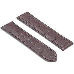 DASSARI Aston Brown Crocodile Leather Embossed Watch Strap for OMEGA 20/18 20mm