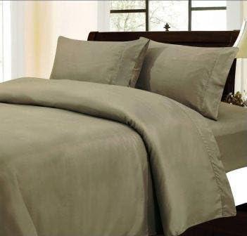 Dreamz Bedding 350 fili lenzuolo lenzuolo lenzuolo (tasca profonda  53,3 cm) con 2 federe di euro singolo grande tortora, solido, 350TC 100% cotone extra tasca profonda lenzuolo sotto d978d6