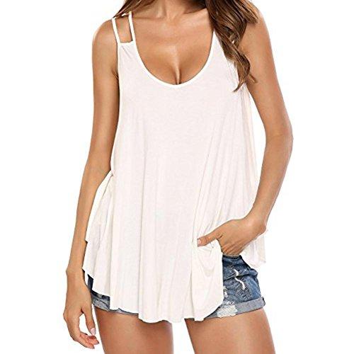 ESAILQ Damen Modisch Damen Shirt Kurzarm Revers Schlank Hemd Arbeit V-Ausschnitt mit Knöpfe(L,Weiß) (Michaels Hund Kostüme)