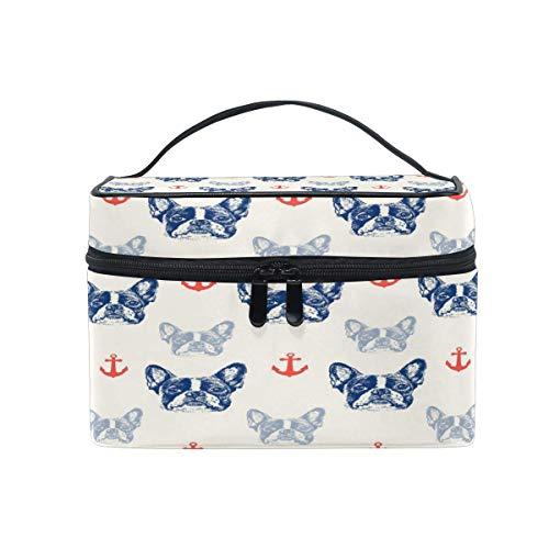 Aquarell Französisch Bulldoggen-Anker-Kosmetik-Beutel Spielraum-Verfassungs-Fall-beweglicher Kulturbeutel kosmetische Organisator-Einkaufstasche für Mädchen-Frauen-Schönheits-Tasche -