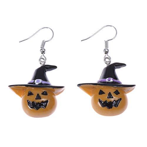 Amosfun 1 Paar Kinder Halloween Ohrringe Kürbis Ohrringe Lustige Ohrstecker mit Hut Ohrhaken Schmuck für Frauen Mädchen