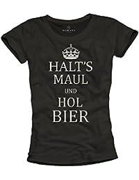 T-Shirts mit frechen Sprüchen HALTS MAUL HOL BIER schwarz Frauen S M L