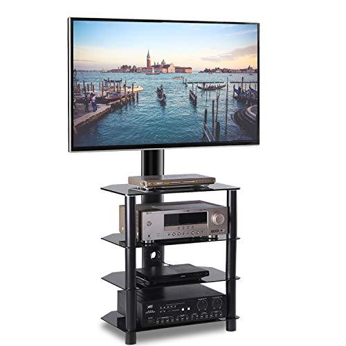 RFIVER Supporto TV Multimediale Girevole e Altezza Regolabile per TV Schermi LCD LED da 32 a 55 pollici Scaffale HiFi per Componente AV TW1004