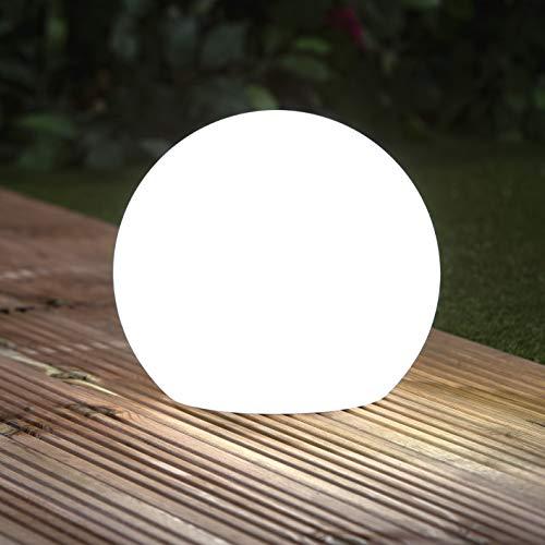 EASYmaxx Solar-Deko-Stein mit Farbwechsel | Moderne Außen-Gartenleuchte mit Fernbedienung | Solar-Kugel-Lampe für In- und Outdoor | Wasserfest nach IP67 (Kugel)