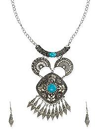 Zaveri Pearls Dark Antique Texture Detailed Junk Necklace Set For Women-ZPFK6460