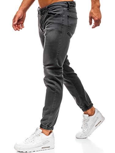 BOLF Herren Jeanshose Jogger Denim Button-Fly Street Style Otantik 2043 Anthrazit 32/34 [6F6] | 05902646911113