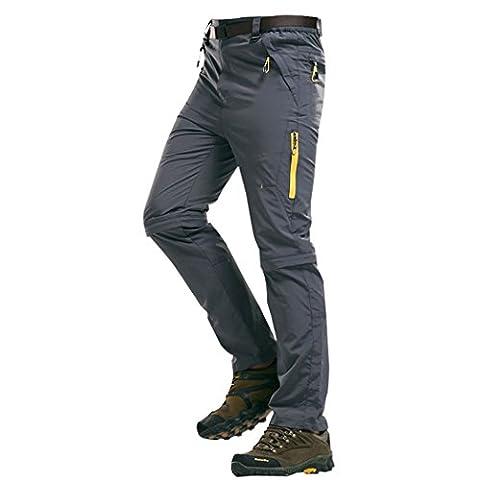 Walk-Leader Pantalon d'extérieur convertible pour homme Escalade, randonnée Séchage rapide - gris -