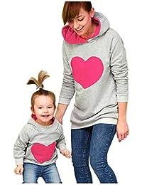 JEELINBORE Ropa Familia Deportivos Niño Sudaderas con Capucha Caliente Madre e Hijo Patrón Cardíaco Sweatshirt Blusa
