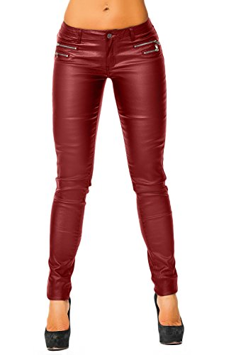 Damen Kunstlederhose (339), Grösse:34,XS Farbe:Bordeaux (Leder Slim-fit-jeans)