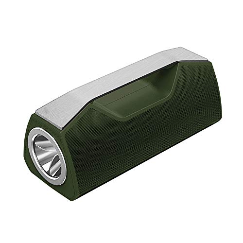 OMJNH Bluetooth-Lautsprecher, drahtloses Taschenlampen-Handheld-Audio, mit Sprachaufforderung, Karte, Radio, Anruffunktion, Taschenlampenfunktion, Wiedergabeformat MP3, APE, WMA, FLC, WAV,Green