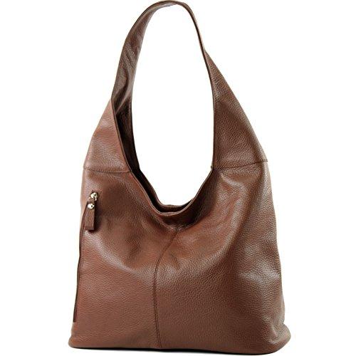 Tasche Braun Stoff Handtaschen (modamoda de - ital Große Schultertasche aus Leder T166, T166 Schokoladenbraun, siehe Beschreibung)