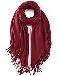 Gkmamrg XXL écharpe Femme Vin rouge Hiver Echarpe Chaud Châle Glands  Foulard Ponchos d hiver 67f742ff3e5