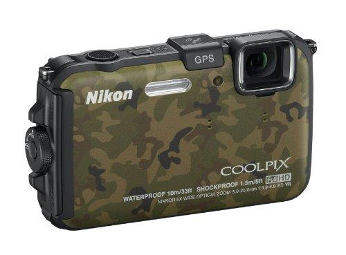 Nikon Coolpix AW100 Outdoor-Digitalkamera (16 Megapixel, 5-fach opt. Zoom, 7,5 cm (3 Zoll) Display, bildstabilisiert, wasserdicht bis 10m, kälteresistent, GPS) camouflage