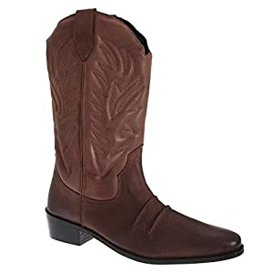 Gringos Mens Dark Brown / Black Leather Cowboy Boots by Gringos