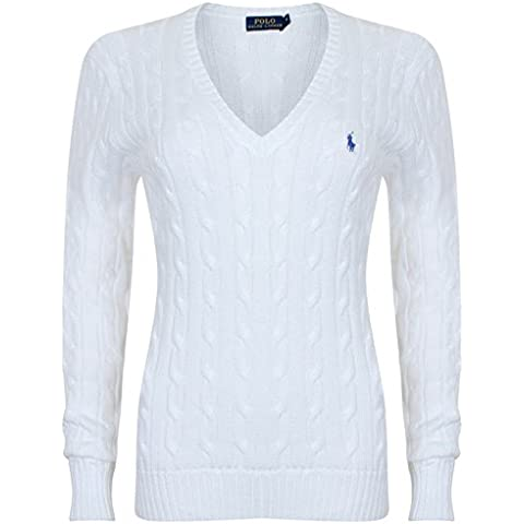 Polo Ralph Lauren Cable Knit V de Neck Cotton Jersey Kimberly Blanco