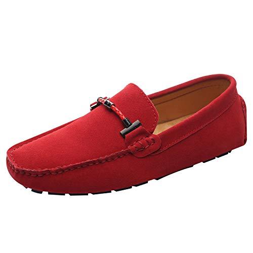 Jamron Uomo Elegante Fibbia Mocassini Comfort Scamosciato Scarpe di Guida Moda Pantofole Rosso SN19020 EU40