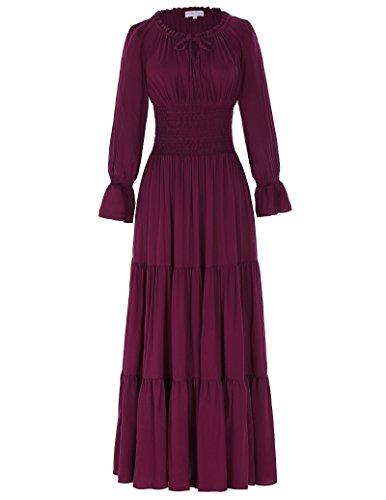 Victorian Gothic Renaissance Maxikleid Empire Kleid Stretch Tailliert S (Kleid Renaissance Rotes)