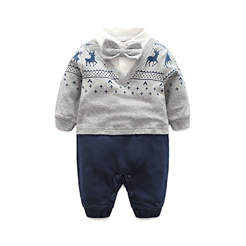 Fairy Baby Baby Outfits Langarm Strampler Jungen Smoking Baby Baumwolle Gentleman Outfit Bowknot Weihnachts/Taufstrampler Kleidung, 66(3-6 Monate), Grauer ()